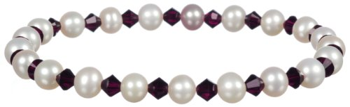 (White Freshwater Cultured Pearl and Crystallized Swarovski Elements July Birthstone Ruby Colored Bicone Stretch Bracelet,)