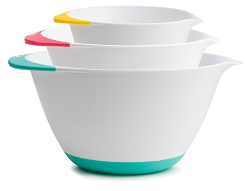 KUKPO Mixing Bowls – 3 piece set Includes 1.8 Qt, 3.6 Qt, 6.5 Qt, Easy Grip Handle With Non - Skid Bottom Microwave Safe Mixing Bowls
