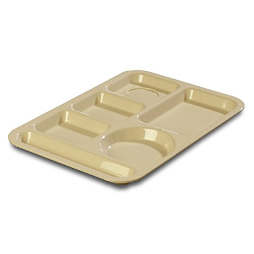 Carlisle 61425 ABS Left-Hand 6-Compartment Divided Tray, 14