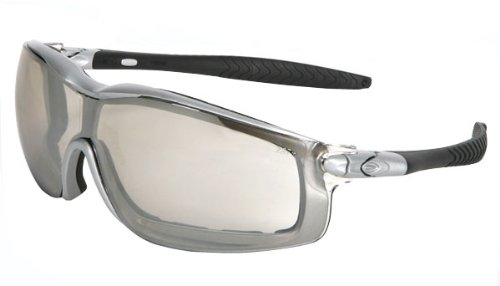 MCR Safety RT129AF Rattler Nylon Indirect Vented Elastic Strap Dielectric Glasses with Silver Frame and Indoor/Outdoor Clear Mirror Anti-Fog Lens