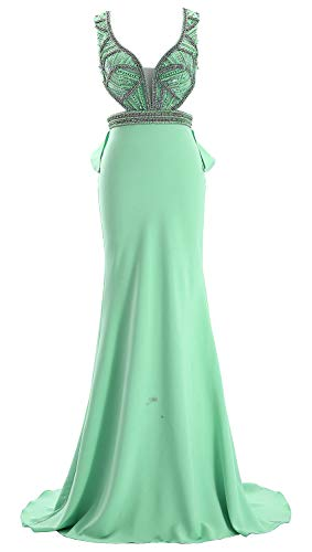 Women Satin V Prom Cut Macloth Out Evening Dress Deep Long Mint Gown Formal Neck With v1Egqdw