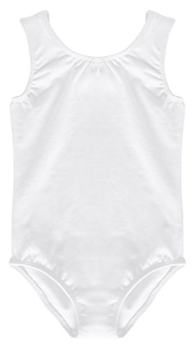 Dancina Leotard Tank Top Good Quality Unitard w/Non Slip Tank Sleeves and High Neckline 10 White
