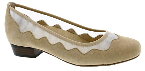 Ros Hommerson Tootsie 74034 Women's Dress Shoe: Nude/Suede Leather 6.5 Wide (D) Slip-On
