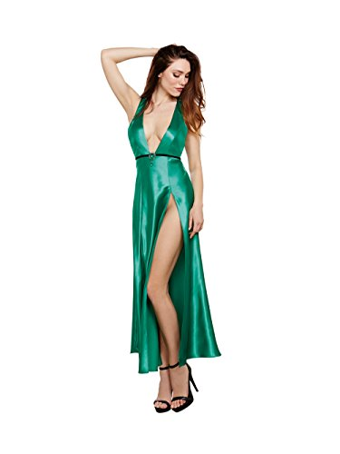 Dreamgirl Women's Satin Gown with Removable Jewelled Pin, Emerald, X-Large