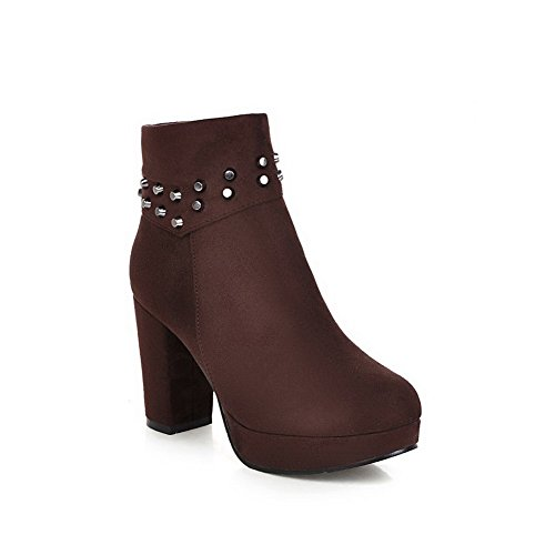 Heels Heels Rivet Thick and with Materials Suede High Boots Blend Allhqfashion Women's Brown P4w1XX