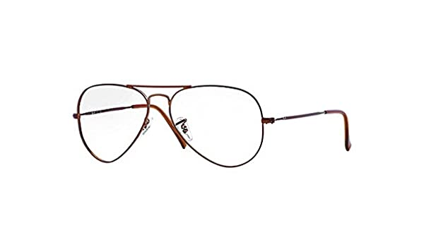 ea35a39fa96320 Amazon.com  Ray Ban RX6049 Aviator Eyeglasses-2758 Matte Dark Brown-55mm   Clothing