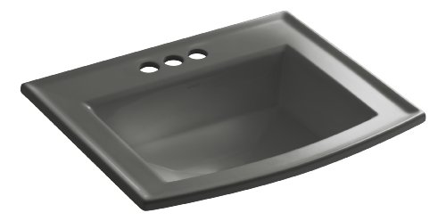 (Kohler K-2356-4-58 Vitreous china Drop-In Rectangular Bathroom Sink, 25.5 x 21.5 x 10.125 inches, Thunder Gray)