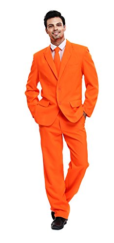 U LOOK UGLY TODAY Men's Party Suit Orange Solid Color Bachelor Party Suit-Large -