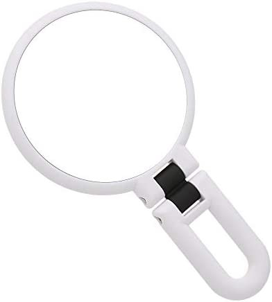 TBWHL 15x Magnifying Makeup Mirror, Travel Handheld Mirror Double-Sided 360 Adjustable Cosmetic Hand Mirror Round White