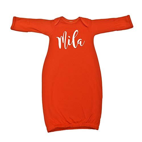 Mashed Clothing Mila - Personalized Name Baby Cotton Sleeper Gown (Orange Newborn)
