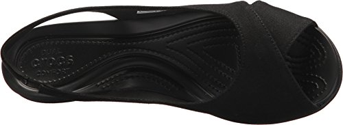 Crocs Women's Leigh Ann Slingback Wedge Sandal, Black/Black, 11 M US by Crocs (Image #1)