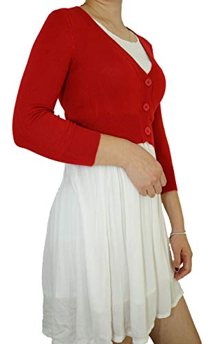 Fit Apparel - Casual Elegant Cropped V-Neck Soft Knit 3/4 Sleeve Button Down Vintage Classic Basic Cardigan Sweater (Large, Red)