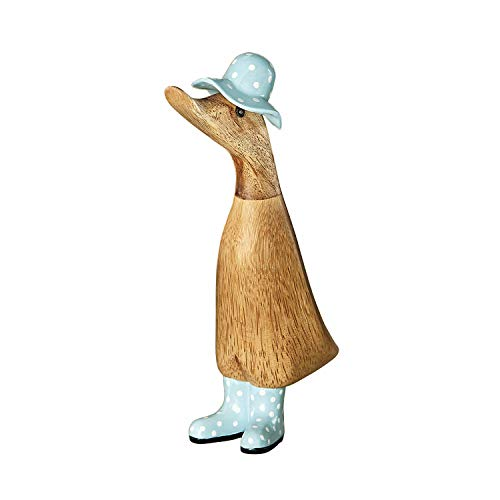 Dcuk Duck Wearing Wellies Garden Sculpture - Duck in Rain Boots & Hat, Hand Carved & Painted Bamboo Wood, 9