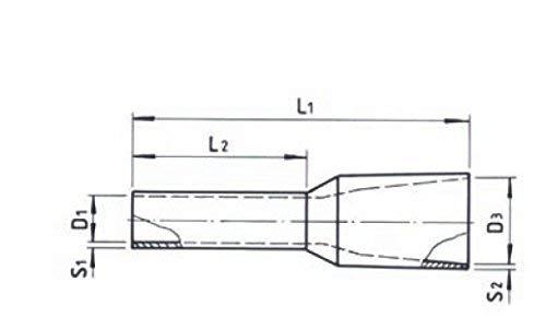 Aderendh/ülsen isoliert Nenngr/ö/ße DIN 10,00mm/² galvnisch verzinnt 100 Stk H/ülsenl/änge 18,0mm; Rot JSAEHLRE-10,00-100 mit Kunststoffkragen