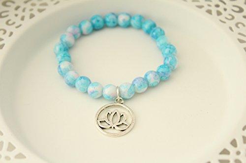 Blue White Boho Hippie Glass Bead Stretch Bracelet with Lotus Flower Charm (Glass Bead Bracelet Jewelry)