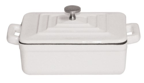 Paderno World Cuisine 0.375-Quart Rectangular Cast-Iron Casserole, White by Paderno World Cuisine