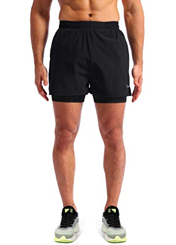 Pudolla Men/'s 2 in 1 Running Shorts 5 Quick Dry Gym Athletic Workout Shorts for Men with Phone Pockets