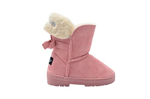 bebe Toddler Girls Little Kid Mid Calf Easy Pull-On Microsuede Winter Boots Embellished with Faux Fur Cuff and Back Bow Size 8 M US Toddler Blush/Silver