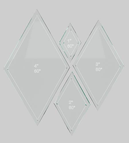 "Diamond Quilting Acrylic Templates 4"", 3"", 2"", 1"" 60 Degree 1/4"" Seam Allowance, 1/8"" Acrylic"
