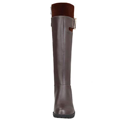 SJJH High Brown Knee Wedge Women Boots 1qOTA1Urwx
