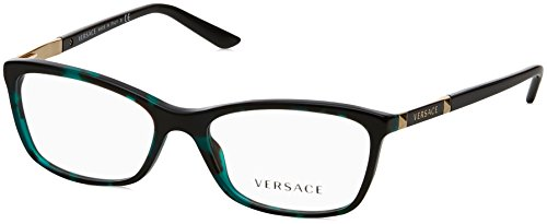 Versace VE3186 Eyeglass Frames 5076-52 - Green Havana Transp - Prescription Glasses Versace