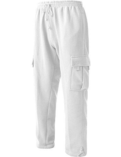DR Men's Cargo Sweatpants Heavyweight Fleece Long Pants 60/40 S-5xl (5X-Large, White)