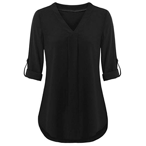 - ◕‿◕ Toponly Womens Long Sleeve Roll-up Top Casual V Neck Layered Shirt Blouses