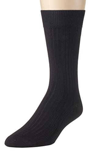 Sportoli Men's Super Soft Modal Ribbed Lightweight Dress Crew Socks - Black (10-13) (Ribbed Modal)