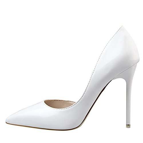 Pumps Fashion Pointed Toe Patent Leather Stiletto high Heels Spring Autumn Wedding Shoes Woman White 5 (Bean Ll Capris)