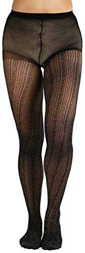 ToBeInStyle Women's Dazzling Crocheted Tights - Black/Silver - -