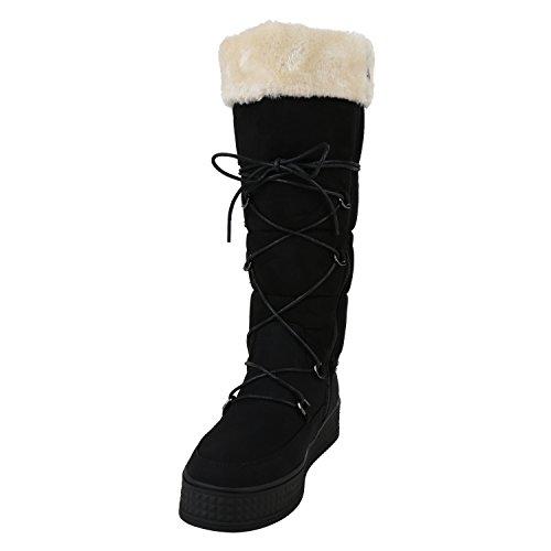 Stiefelparadies Damen Winterstiefel Warm Gefüttert Flandell Schwarz Nieten