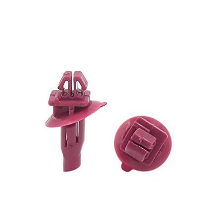 eDealMax 100pcs 8 x 11 mm Tamaño del agujero remaches plásticos rojos Recorte de tornillos auto