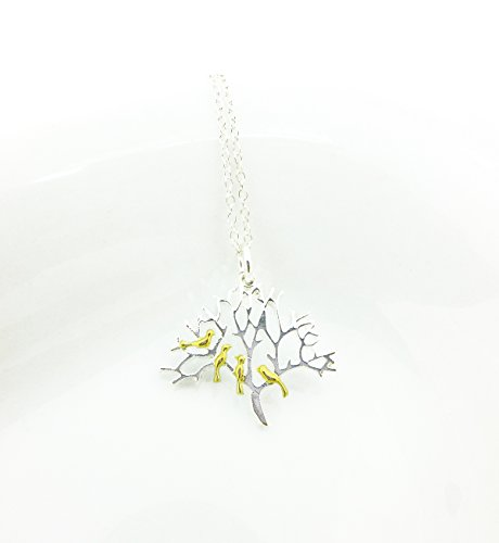 Tree of Life Necklace in Sterling Silver with Birds, Everyday Minimalist Necklace