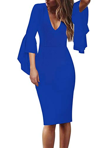 VFSHOW Womens Deep V Neck Ruffle Bell Sleeve Cocktail Party Sheath Pencil Dress 2281 BLU 3XL