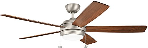 KICHLER 330180NI Protruding Mount, 5 SILVER/WALNUT Blades Ceiling fan with 71 watts light, Brushed Nickel ()