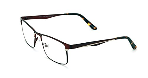Men Rectangular Stainless Steel Non-prescription Glasses Frame Clear Lens Metal Eyeglasses - Wide Fitment - Stainless Frames Eyeglass Steel