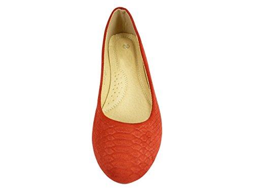 Bailarinas de terciopelo para mujer, casual, diseño con forma de zapatos Rojo - rojo