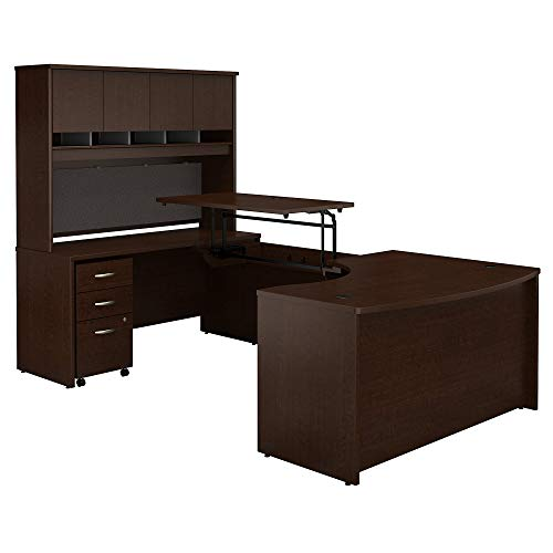 Bush Business Furniture Series C 60W x 43D Left Hand 3 Position Sit to Stand U Shaped Desk with Hutch and Mobile File Cabinet in Mocha Cherry