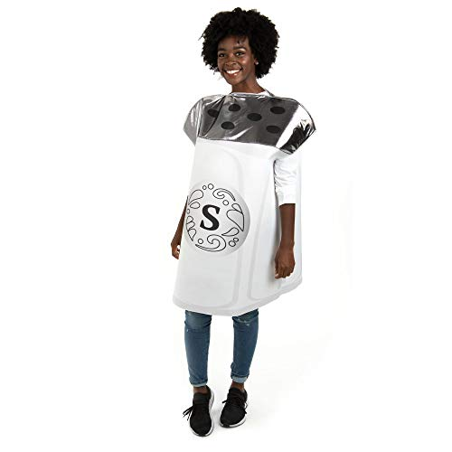 Sassy Salt Costume - Funny One-Size Fits All Unisex Food Costume for Adults White