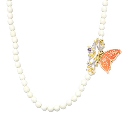 (Michael Valitutti Palladium Silver Carved Shell Cameo, Coral Bead & Multi Gemstone Fairy Necklace)