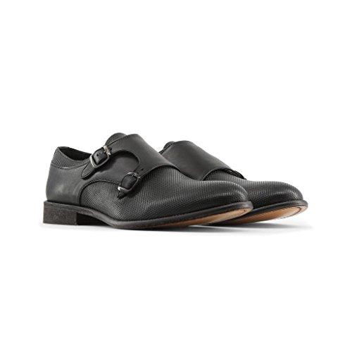 Made Sangle CELSO Pour in Homme Italia Boucle Moine De Chaussures À Noir Double wxZSCqw4f