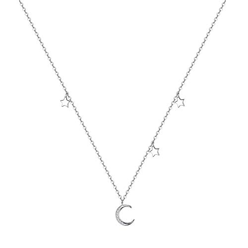 (Lucky Star Crystal Crescent Moon 925 Sterling Silver Choker Pendant Necklace for Women Christmas Dainty Disc Layered Chain Jewelry Gifts Best Friend)