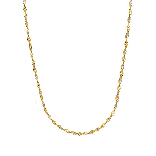 14k Gold Yellow and White Two Tone Singapore Chain Necklace 1.35 mm 16 Inches (Gold Sparkle Singapore Chain)