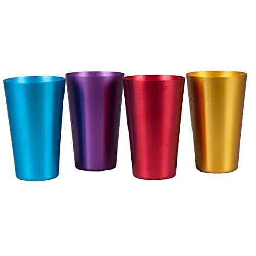 Retro Aluminum Drinking Tumblers, 16 oz. Jewel Tones, 4 Pack