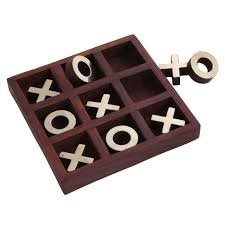 Crown Race Cutter - Hind Handicrafts Classic Handmade Vintage Wooden Tic Tac Toe Brass Inlay Game Set / Birthday Gift / Antiques Collectibles / Travel Game (5.5x5.5x1 inch)