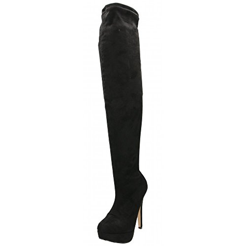 Koi Couture Over The Knee Boots Faux Suede Stiletto Heel Platform Black cCeGrbk