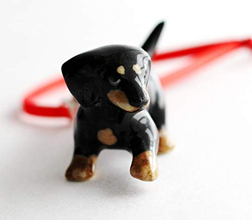 Dog Christmas Ornament Dachshund Small Tree Decor Porcelain Animal Charm ()