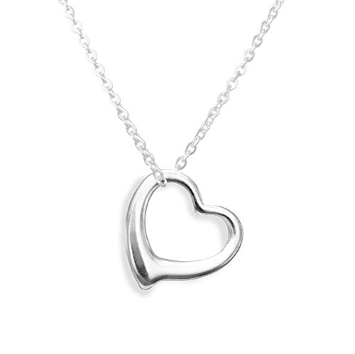 Altitude Boutique Open Heart Necklace for Women (Gold, Rose Gold, Silver) (Silver)