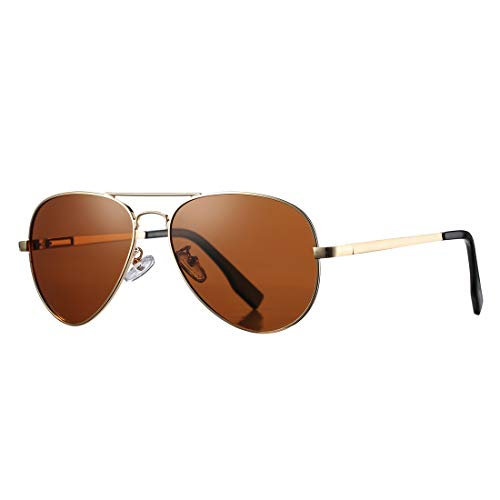 Polarized Aviator Sunglasses for Men Women with Spring Hinge Legs, UV400 Protection (Gold Frame/Brown Lens)