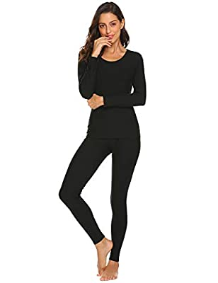 Ekouaer Women's Warm Fleece Thermal Underwear Long Johns Pjs Set Plus Size S-XXXL